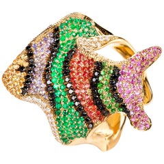 "Contemporary ""Clownfish"" Multicolor Gemstone Cocktail Ring in Yellow Gold"