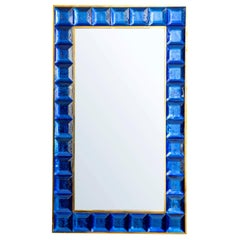 Contemporary Cobalt Blue Diamond Murano Glass Mirror, in Stock