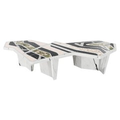 Contemporary Coffee Center Table with Geometric Top in Granite and Marble Stone