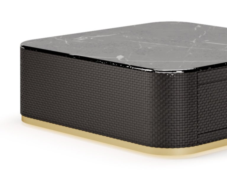 Modern Contemporary Coffee Table by Fabio Arcaini, Lacquered Velvet For Sale