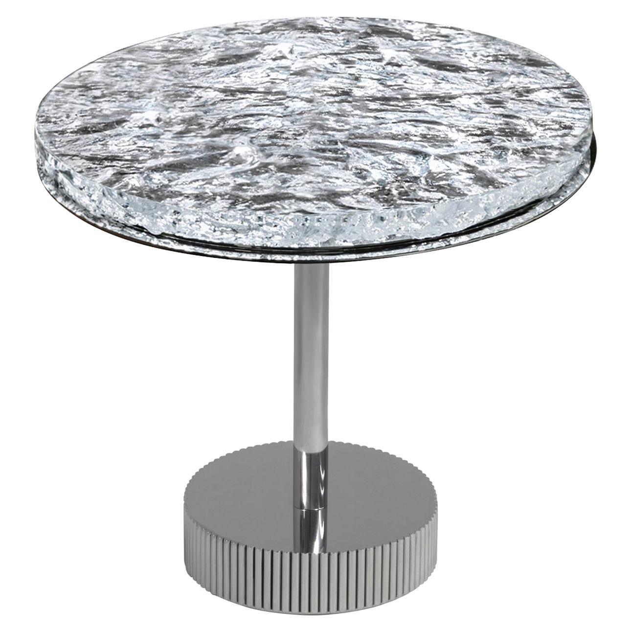 Contemporary Coffee Table by Hessentia with Artistic Glass Top and Metal Base
