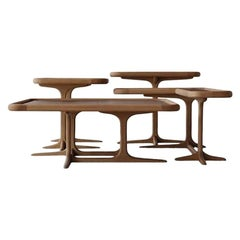 Contemporary Coffee Table Composition in Natural Oak and Firenze Leather