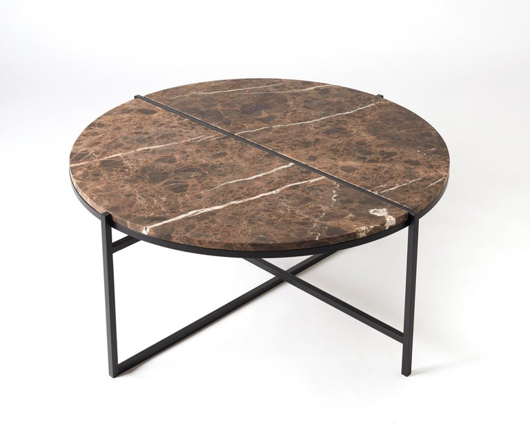 Contemporary Coffee Table, Emparador Dark Marble, Minimalist, Modern, Unique For Sale 4