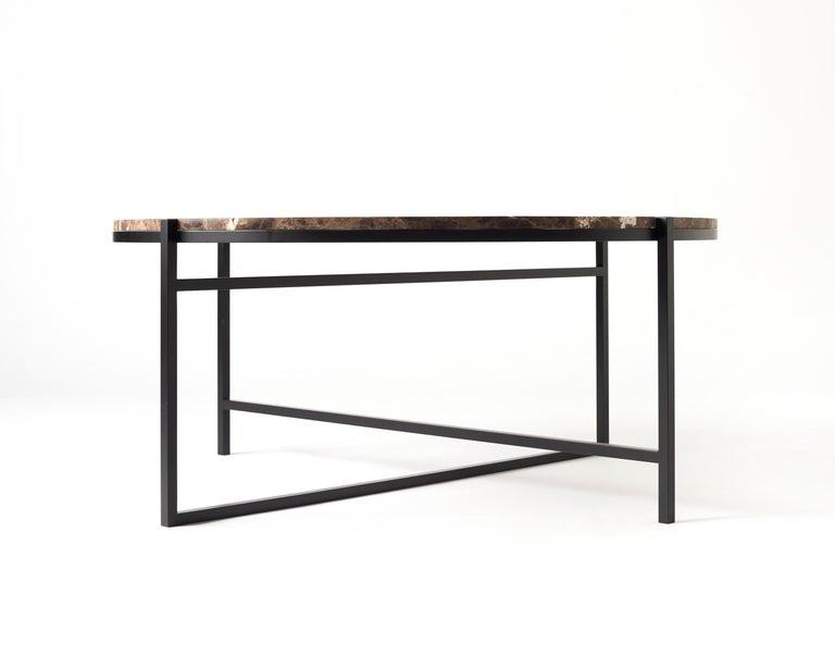 Swiss Contemporary Coffee Table, Emparador Dark Marble, Minimalist, Modern, Unique For Sale