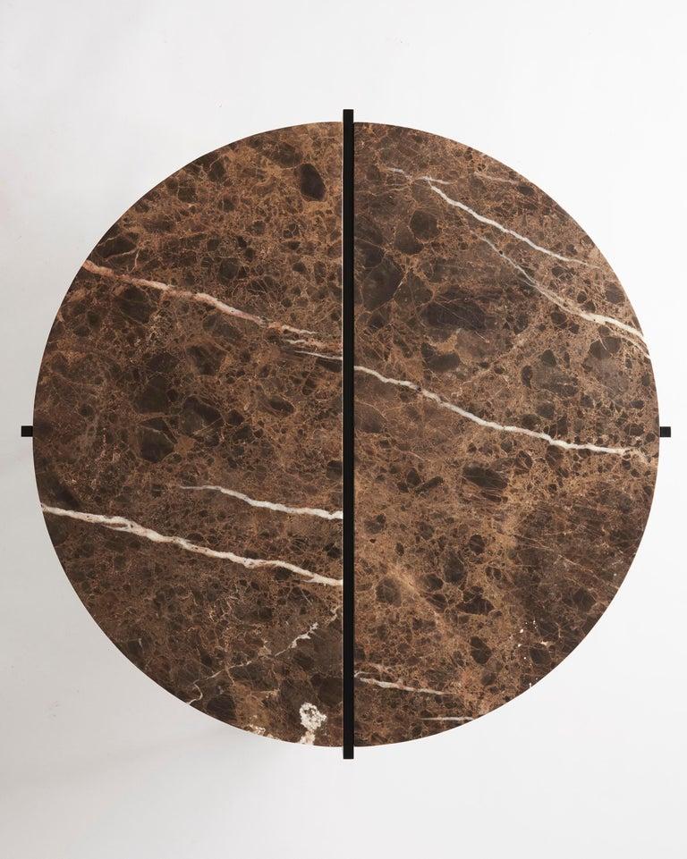 Polished Contemporary Coffee Table, Emparador Dark Marble, Minimalist, Modern, Unique For Sale