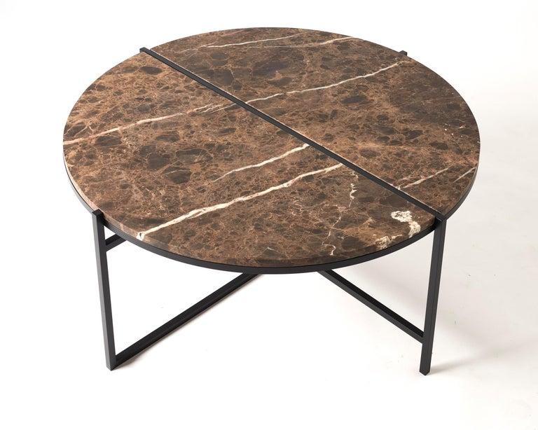 Contemporary Coffee Table, Emparador Dark Marble, Minimalist, Modern, Unique In New Condition For Sale In Zurich, CH