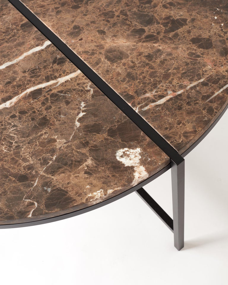 Stainless Steel Contemporary Coffee Table, Emparador Dark Marble, Minimalist, Modern, Unique For Sale