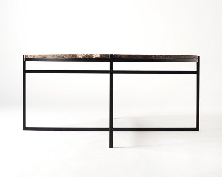 Contemporary Coffee Table, Emparador Dark Marble, Minimalist, Modern, Unique For Sale 1