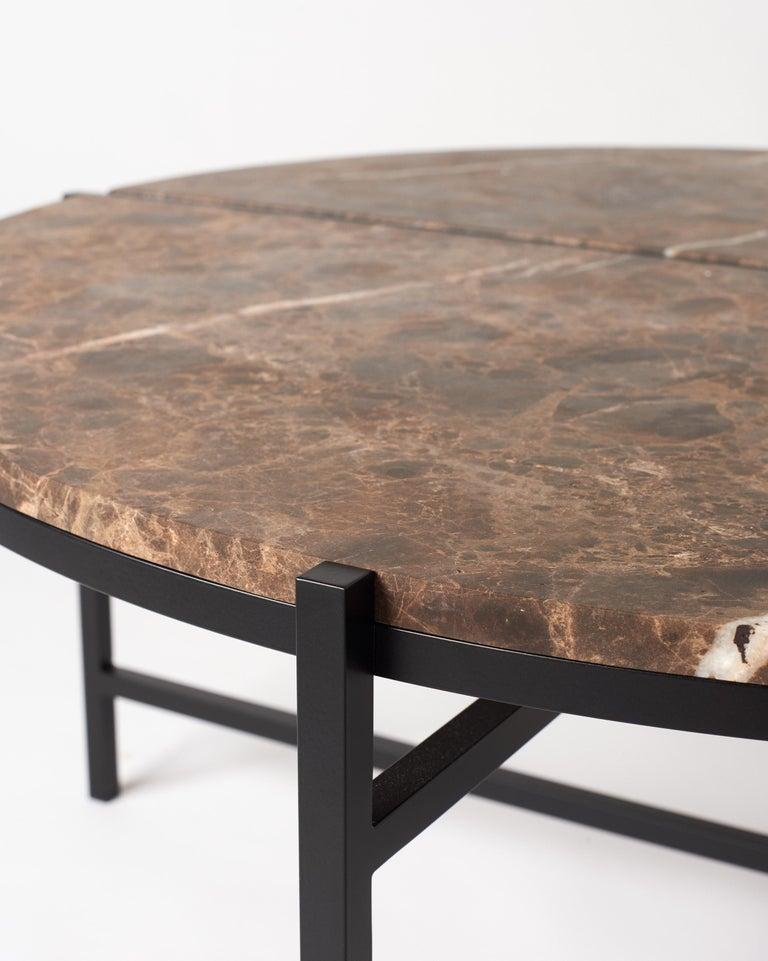 Contemporary Coffee Table, Emparador Dark Marble, Minimalist, Modern, Unique For Sale 2