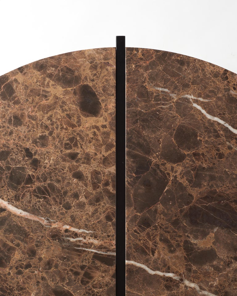 Contemporary Coffee Table, Emparador Dark Marble, Minimalist, Modern, Unique For Sale 3
