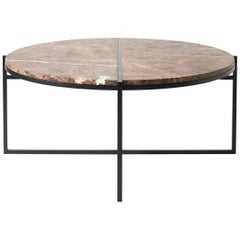 Contemporary Coffee Table, Emparador Dark Marble, Minimalist, Modern, Unique
