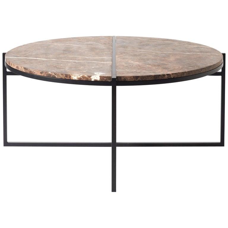 Contemporary Coffee Table, Emparador Dark Marble, Minimalist, Modern, Unique For Sale