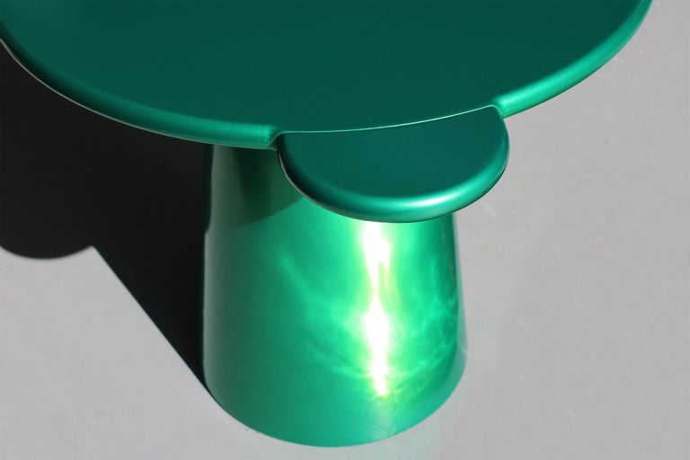 Lacquered Contemporary Coffee Table Green Donald Wood by Chapel Petrassi For Sale