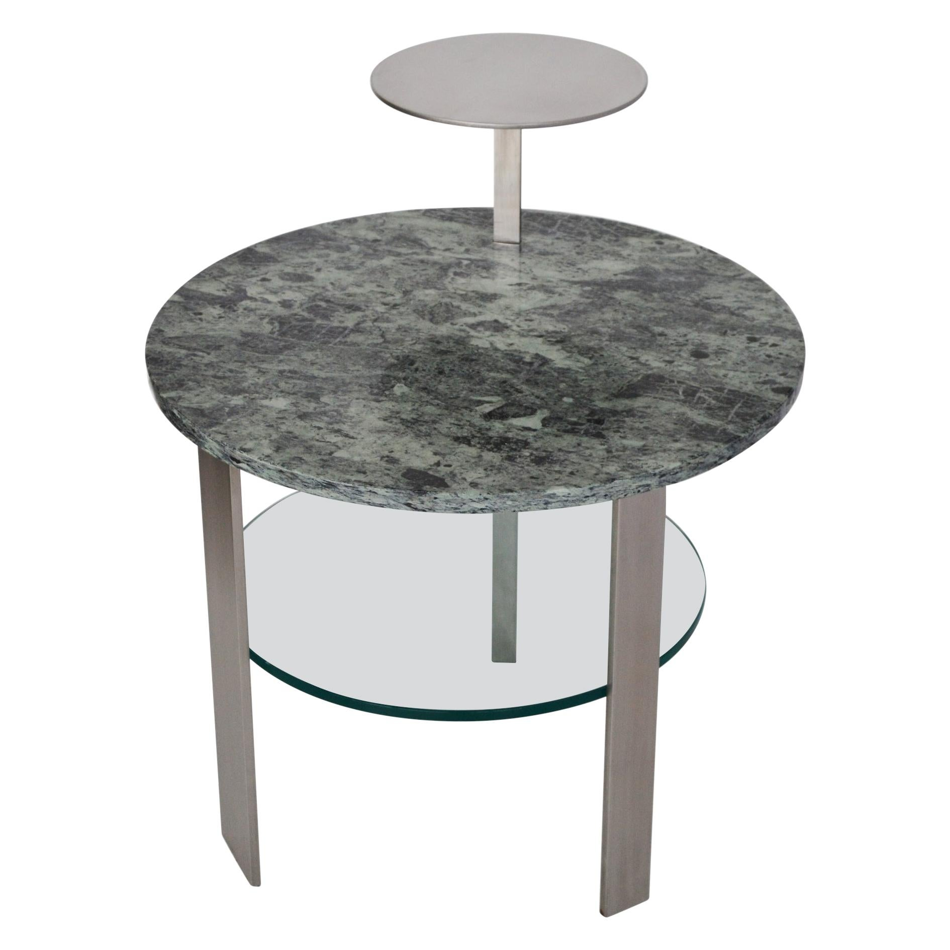 Modern round Coffee Table Green Issoire Marble Top Glass Top Satin Steel Base