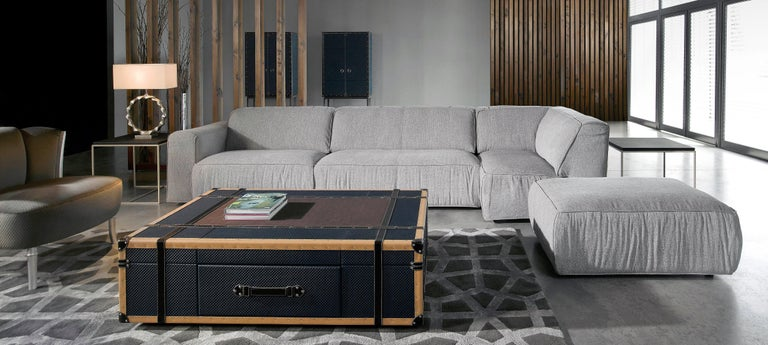 Modern Contemporary Leather, Wood & Metal Coffee Table in Shape of Vintage Suitcase For Sale