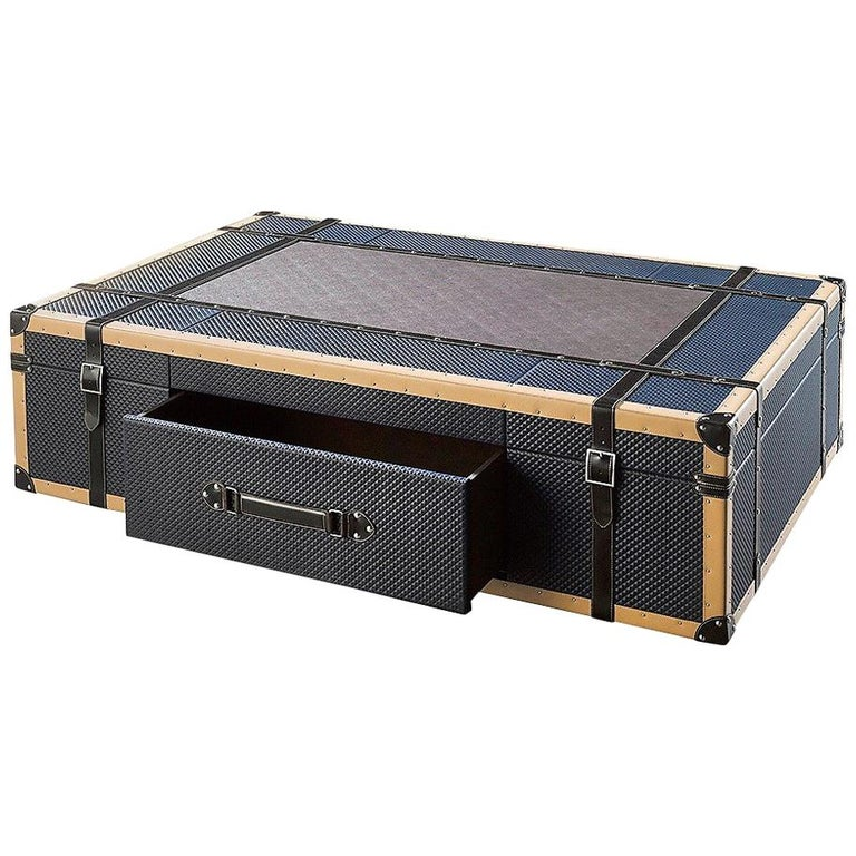 Contemporary Leather, Wood & Metal Coffee Table in Shape of Vintage Suitcase For Sale