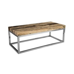 Contemporary Coffee Table Natural Onyx/Stainless Steel