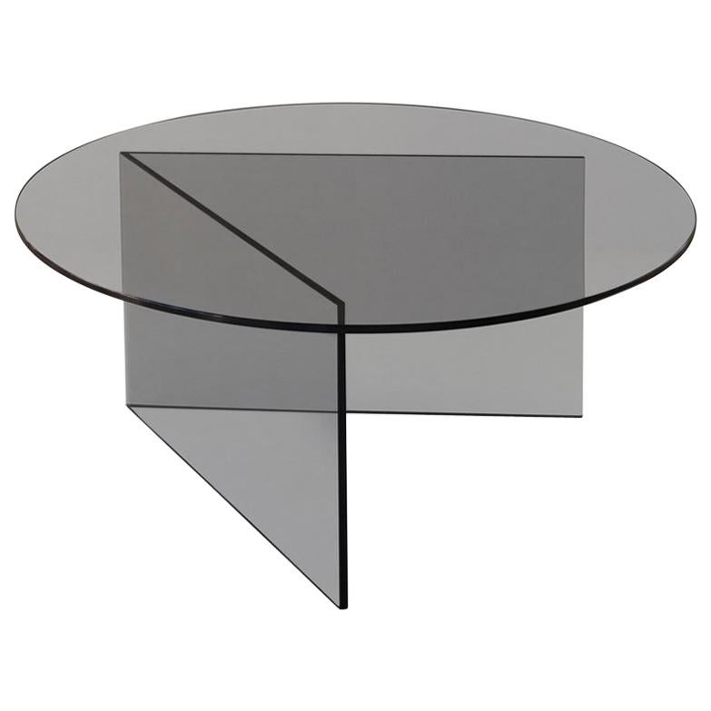 Contemporary Coffee Table 'Pond' Grey Glass