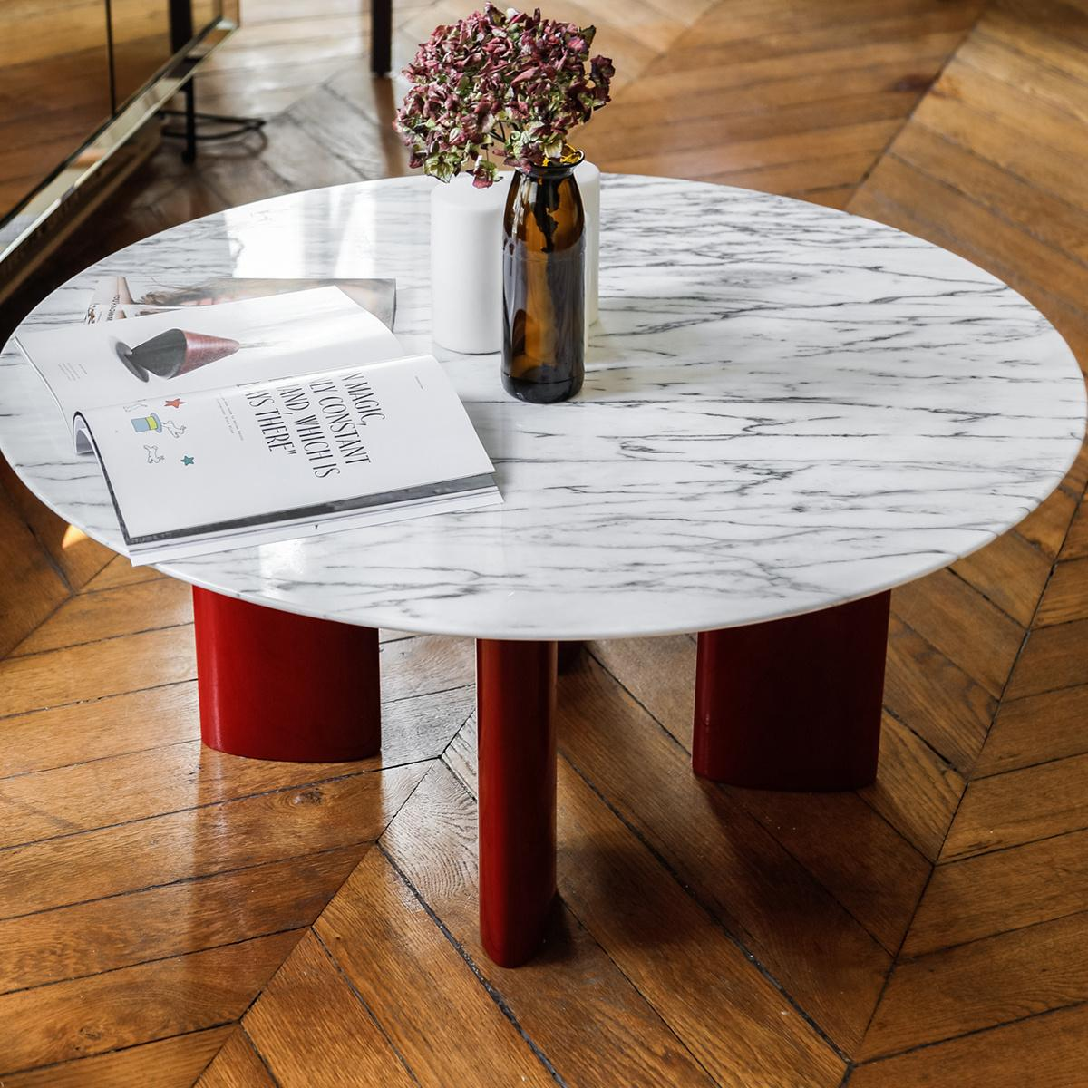 Contemporary Coffee Table With Red Lacquered Legs And White Marble