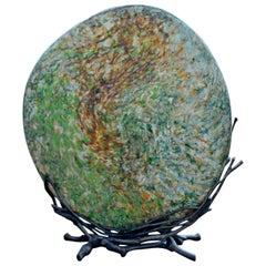 Contemporary Colin Heaney Signed Blown Sandblasted Glass Tectonic Plate, 2000