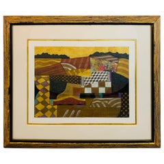 Contemporary Collage Painting Matted and Custom Framed