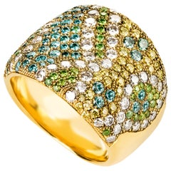 Contemporary Color Diamond Cocktail Ring in Yellow Gold