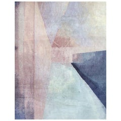 Contemporary Colorblock Blush Light Blue Purple Hand Knotted Wool and Silk Rug