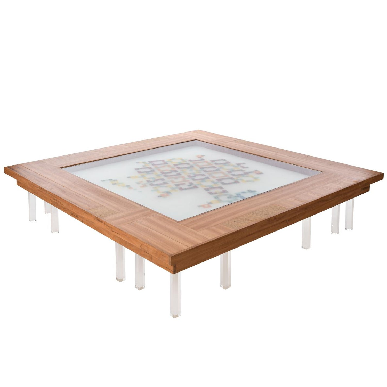Contemporary colored mosaiced coffee table cobogó in wood acrylic glass resin for sale at 1stdibs
