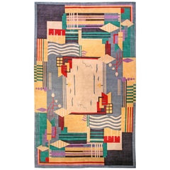 Doris Leslie Blau Collection Colorful Art Deco Design Handmade Wool Rug