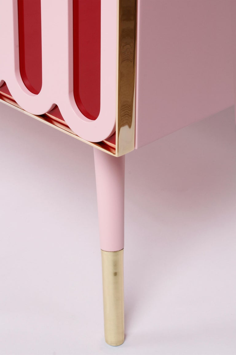 Contemporary Colorful Candy-Like Sideboard in Lacquered Wood and Brass Details In New Condition For Sale In New York, NY