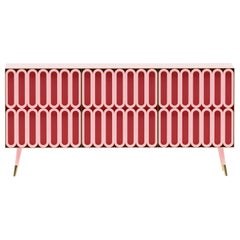 Contemporary Colorful Candy-Like Sideboard in Lacquered Wood and Brass Details