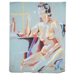 Contemporary Colorful Nude Chalk Painting Drawing on Blue circa 1960 Signed Ball