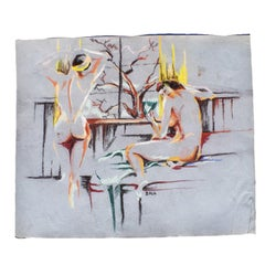 Contemporary Colorful Nude Chalk Sketch of Women circa 1960 Signed Ball