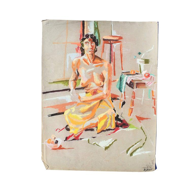 Contemporary Colorful Nude Woman Chalk Sketch with Orange circa 1960 Signed Ball