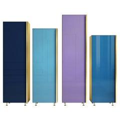 Contemporary Column Set of Four Brass Glass Cupboards Storage Unit Blue