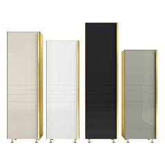 Contemporary Column Set of Four Brass Glass Cupboards Storage Unit Neutral