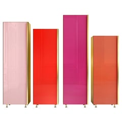 Contemporary Column Set of Four Brass Glass Cupboards Storage Unit Red