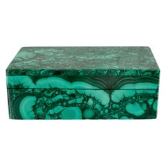 Contemporary Congo Malachite Box with Hinged Lid