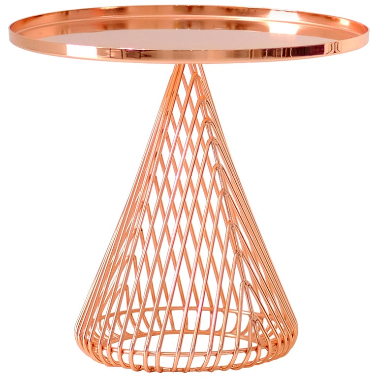 """Contemporary """"Cono"""" Side Table in Copper by Bend Goods For Sale"""