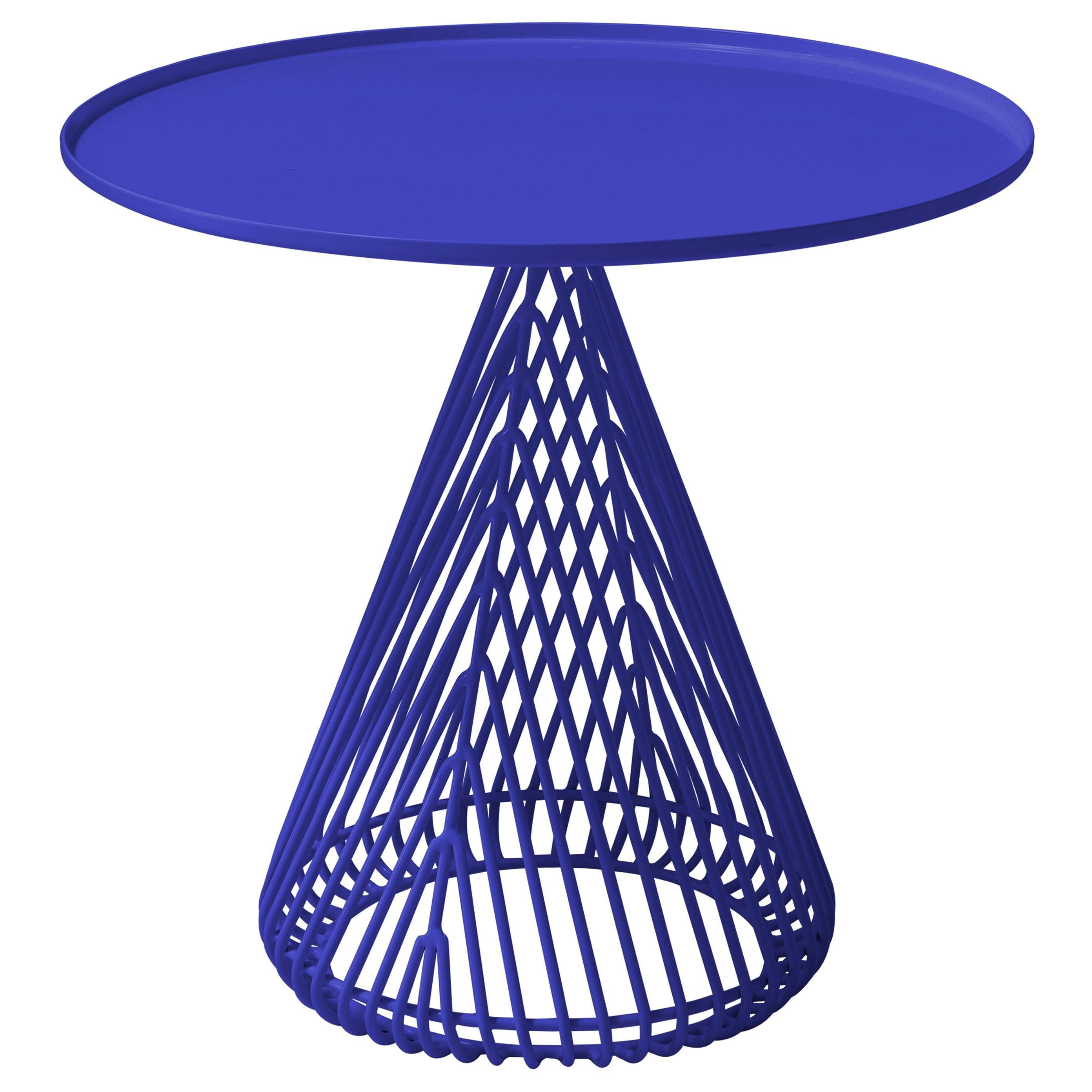 """Contemporary """"Cono"""" Side Table in Electric Blue by Bend Goods"""