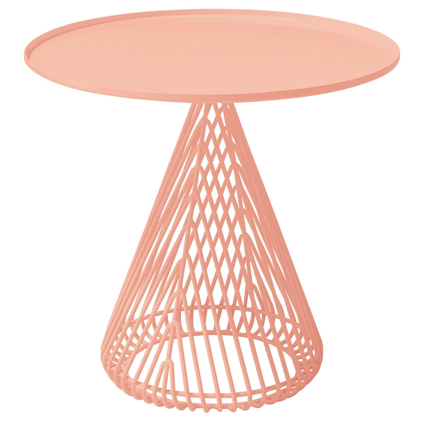 """Contemporary """"Cono"""" Side Table in Peachy Pink by Bend Goods"""