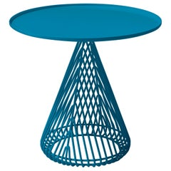"""Contemporary """"Cono"""" Side Table in Peacock Blue by Bend Goods"""