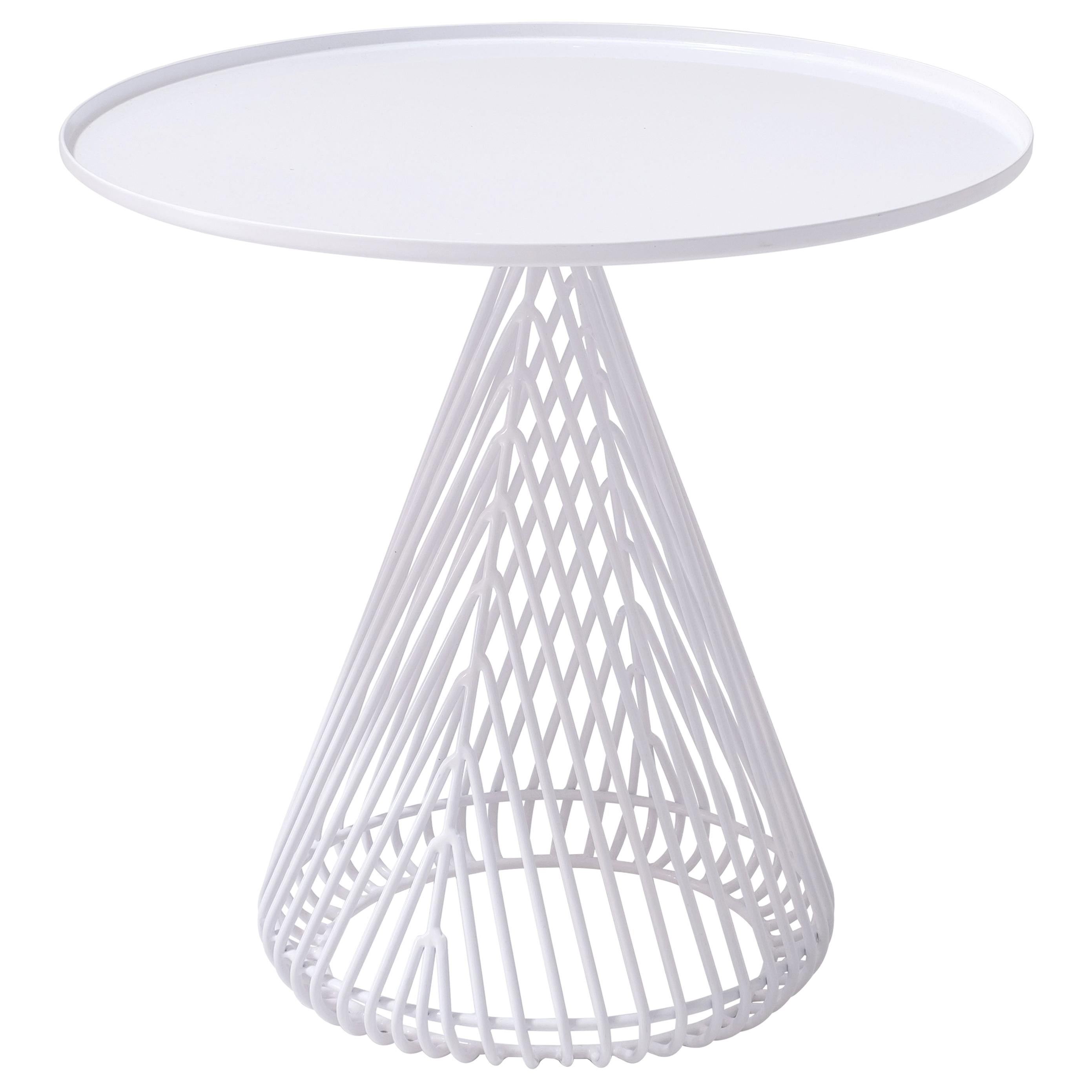 """Contemporary """"Cono"""" Side Table in White by Bend Goods"""