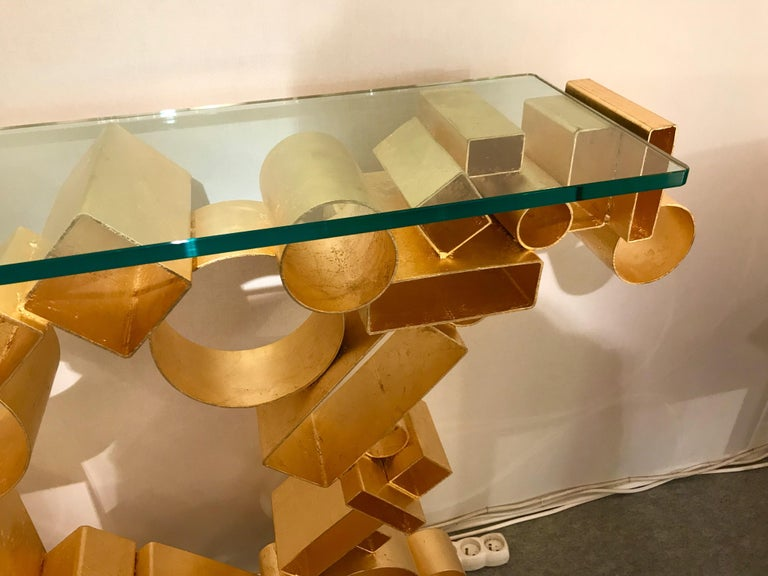 Contemporary Console Iron Gold Leaf by Antonio Cagianelli, Italy, 2018 For Sale 2