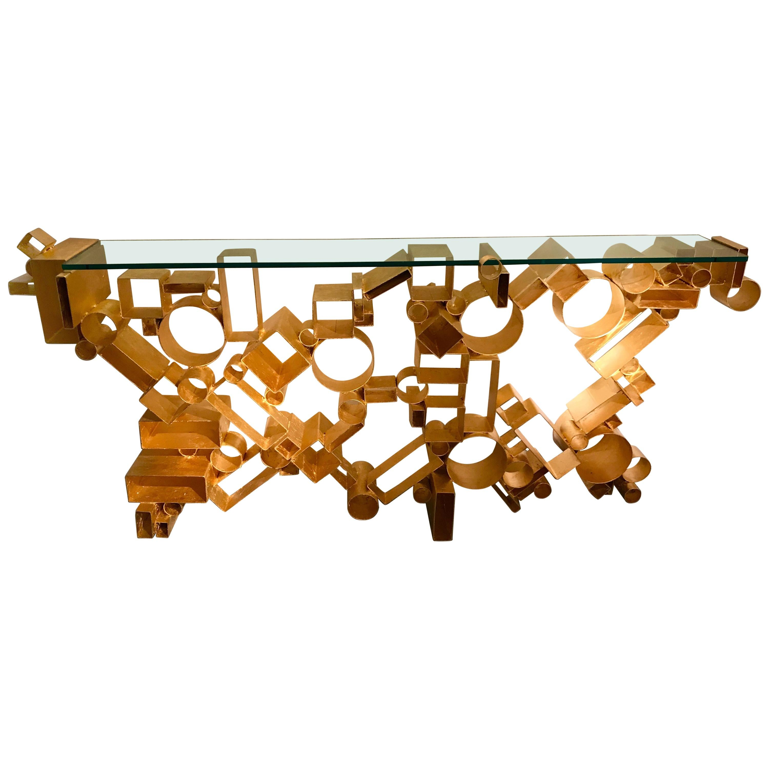 Contemporary Console Iron Gold Leaf by Antonio Cagianelli, Italy, 2018