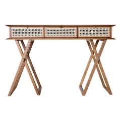 Contemporary Console Table Crafted of Oak with Rattan Fronts