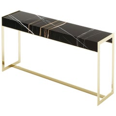 Contemporary Console Table In Black Sahara Marble And Brushed Gold