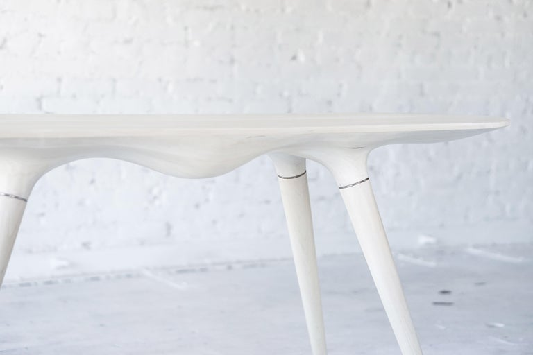 Organic Modern Contemporary Console Table in Carved Bleached Maple with Brass Accents For Sale