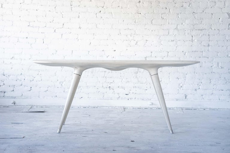 American Contemporary Console Table in Carved Bleached Maple with Brass Accents For Sale