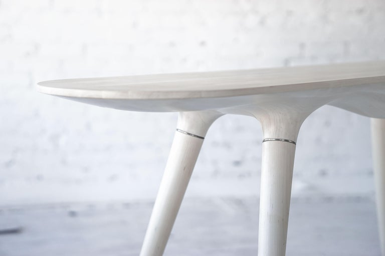 Metal Contemporary Console Table in Carved Bleached Maple with Brass Accents For Sale